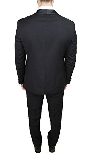 Raso Uomo Lucido Sartoriale Smoking Slim Nero Completo Fit Abito Aderente Vestito SBn1Tpt