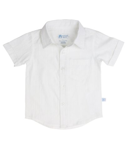RuggedButts Baby/Toddler Boys Toddler White Dobby Woven Short Sleeve Shirt - 3-6m