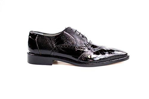 Belvedere Nino Genuine Ostrich Leg and EEL Oxford Shoe 9 Black - Mens Black Belvedere