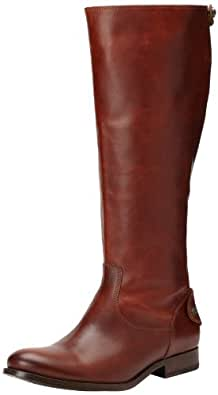 FRYE Women's Melissa Button Back-Zip Boot, Cognac Smooth Vintage Leather, 5.5 M US