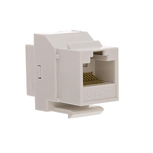 (GOWOS Cat6 Keystone Inline Coupler, White, RJ45 Female)