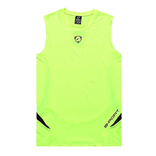 - iHPH7 Vest Tank Men Dry-Fit Active Athletic Tech Tank Top Workout & Training Activewear Slim Printed Sports Sleeveless Shirts Tee Vest Tank L Green