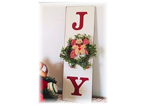 Burkewrusk Vertical Joy Wood Christmas Sign with Wreath and Gingerbread ()