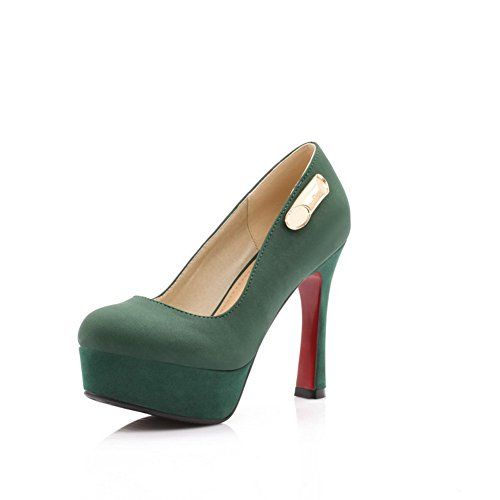 VogueZone009 Womens Closed Round Toe High Heel Stiletto Frosted Solid Pumps with Metal Green mvYg2p