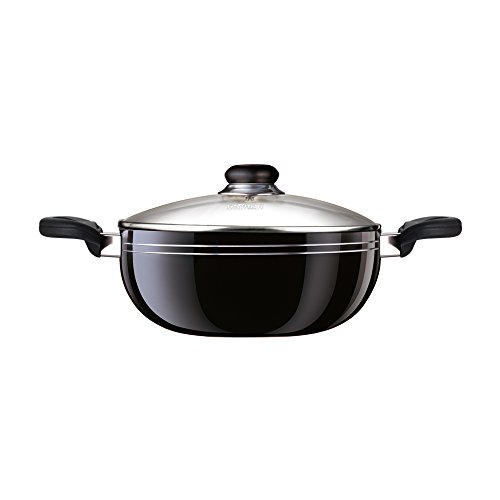 Nirali Classic Plus Thick Aluminium 10 inch Teflon Platinum nonstick coated Deep Kadhai with toughened glass lid & immaculate black exterior, 3 quarts capacity For Sale