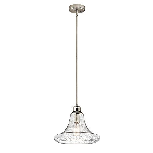 1-Light Satin Nickel Contemporary Mini Pendant with Patterned Clear Glass Shade