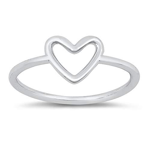 CloseoutWarehouse Sterling Silver Plain Open Heart Ring Size 5