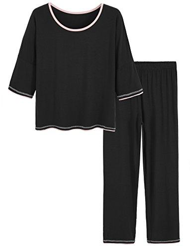 (Latuza Women's 3/4 Sleeve Scoop Neck Pajama Set XL Black)