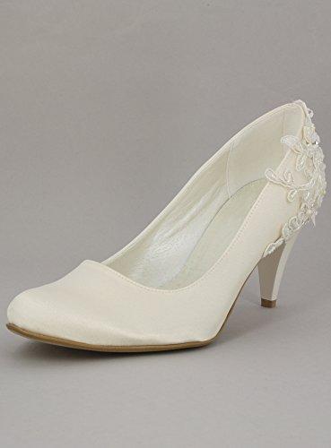 Schuhe Brautschleier satin und Spitze perlées magische-Shop Ivoire - Ecru