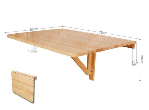 SoBuy/® Tavolo da Muro Pieghevole in Legno 75 60cm Naturale,Senza Sedia FWT01-N,IT
