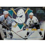 Signed Ducks, Anaheim Mighty Paul Kariya / Teemu Selanne Poster By Paul Kariya and