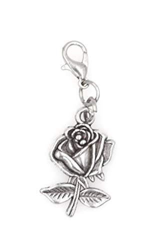 Rose Clip on Charm Perfect for Necklaces and Bracelets (Charm Clip Keychain)