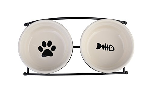 MushroomCat High Quality Pet Feeder Double Ceramic Bowls Dog Bowls and Cat Bowls ,elevated dog bowls,Beige