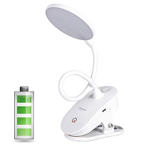 Rechargeable Clip on Reading Light, Accering 18 LED Portable Touch Lamp Battery Operated Book Light with 3 Brightness Levels and 360° Flexible for Home, Bed, Computer - White