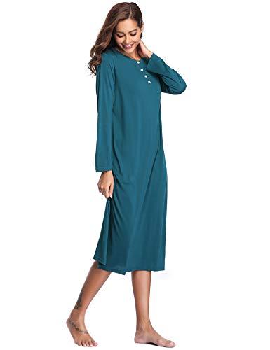 39ee1f208a Lusofie Long Nightgowns for Women Long Sleeve Cotton Sleepwear Button-Front  Sleepshirt