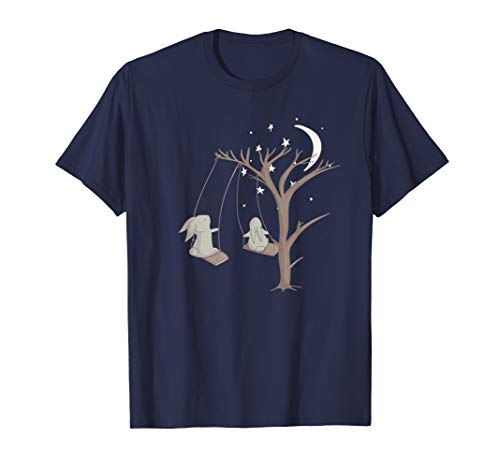 Whimsical Bunny Moon T-Shirt Easter Rabbit T Shirt ()