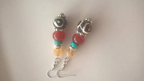 - Bone Fire Agate Citrine- Long Dangle Drop Earrings- Gemstone Statement Jewelry (357)