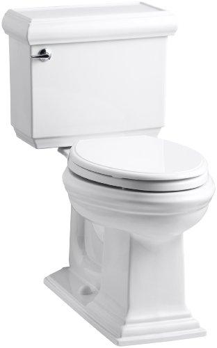 KOHLER K-3816-U-0 Memoirs Classic Comfort Height Elongated 1.28 GPF Toilet with Aqua Piston Flush Technology, Insuliner and Left-Hand Trip Lever, 2-Piece, White