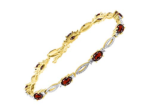 (Stunning Garnet & Diamond S Tennis Bracelet Set in Yellow Gold Plated Silver - Adjustable to fit 7