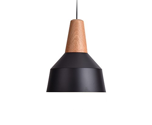 BOKT 60W Edison Lights Modern Industrial Pendant Lamp Colorful Hanging Chandelier Shade Light E26/E27 Base Painted Finish Solid Wood Series Single Head (A-Black)