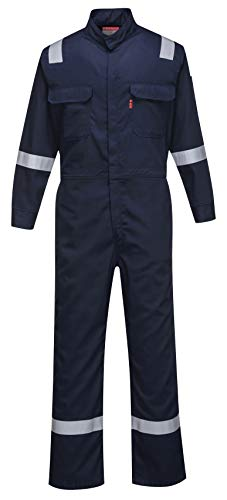 Portwest FR94 Bizflame 88/12 Iona Flame Resistant Long Sleeve Overall Fire Retardant Workwear Coverall, Navy, XXL -