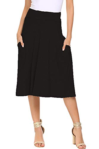 Qearal A Line Skirts for Women Knee Length Elastic High Waist with Pockets Cotton Flare Skirts (Black, L) ()