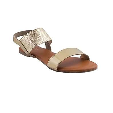Monrow Gold Flat Sandals For Women, 37 EU