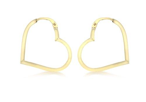 Boucles d'oreilles créoles or jaune 9carats en forme de cœur