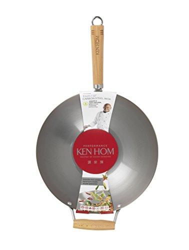 KEN HOM Carbon Steel Wok - Asian Stir Fry Pan with Helper Handle - 12.25