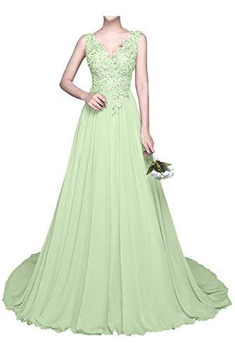 Sommer Abendkleider Partykleider mia Braut mit Festlichkleider Spitze Gruen Hell La Chiffon Brautmutterkleider Langes Kleider 4n8YwxH