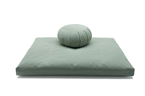 Sage Green Buckwheat Hull Zafu & Cotton Zabuton Meditation Cushion Yoga Pillow 2 pc Set