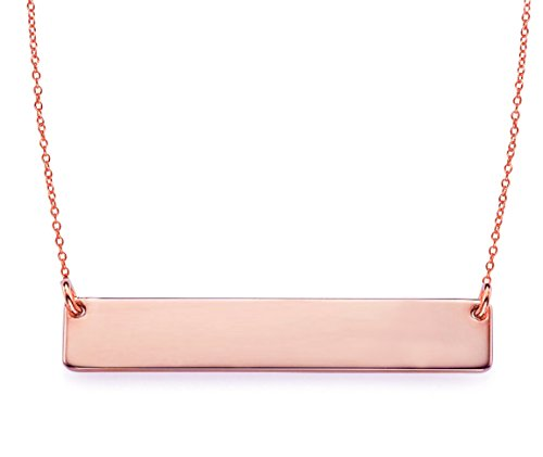 Bar Pendant Necklace .925 Sterling Silver Rose Gold Tone 16