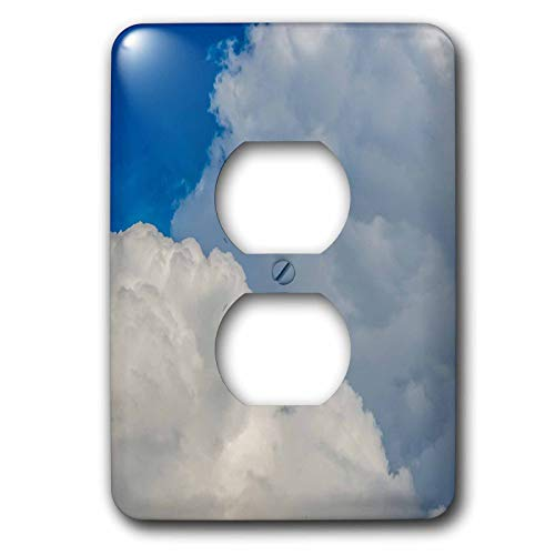 3dRose Alexis Photography - Nature Clouds - White cumulus clouds, blue sky, a swallow bird in the air. Freedom - Light Switch Covers - 2 plug outlet cover (lsp_287388_6) by 3dRose