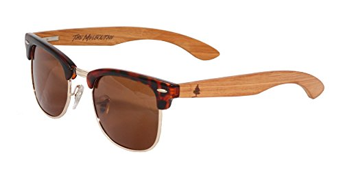 The Melbourne by Spruce - Polarized Wood Sunglasses - Clubmaster - For Men & - Tortoise Shell Real Glasses