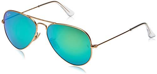 Ray-Ban RB3025 Aviator Flash Mirrored Sunglasses, Matte Gold/Green Flash, 58 mm (Ray Ban Aviator Green Polarized)