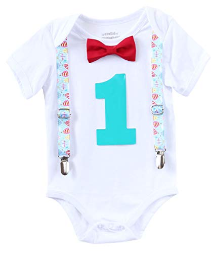 Noah's Boytique Hot Air Balloon Theme Baby Boys First Birthday Party Outfit Red Bow Turquoise Number One 12-18 Months -