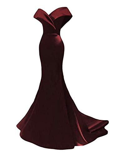 (Off The Shoulder Mermaid Prom Dresses 2019 Long Satin Evening Dresses Formal Party Gowns for Women Dark Burgundy)