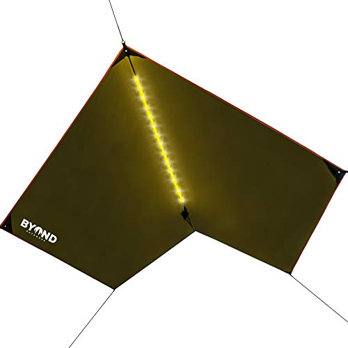 BYOND Rain Fly Hammock & Tent Tarp + Unique Velcro LED Strip - Waterproof Camping Travel 11.5 x 10 ft Tarp for Outdoor - Portable and Practical Nature Shelter Extra-Durable - Ripstop Polyester