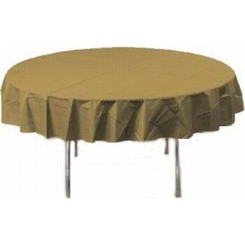 Creative Converting Touch of Color 82-inch Round Plastic Table Cover , Glittering Gold (Pack of 1)