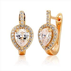 6colors Pear AAA Cz W/White Cz Aroundgold Color Teardrop Huggies Small Hoop Earrings for Women Jewelry Boucle D'oreille