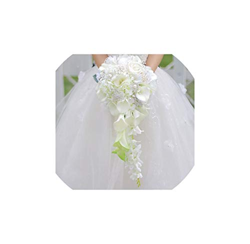 Fun-House Artificial Flowers Waterfall Wedding Bouquets with Crystal Bridal Brooch Bouquets,as The Picture