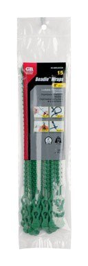 Gardner Bender 45-8BEADGN Beaded Cable Tie Wrap, 8 inch, 70 lb, Reusable, Adjustable Wire and Cord Management, 15 Pk, Green ()