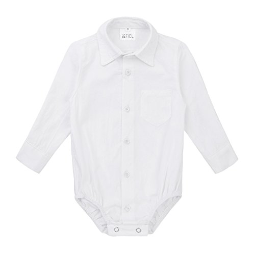 FEESHOW Infant Baby Boys Callored Long Sleeve Formal Dress Shirt Bodysuit Gentleman Romper Wedding Party Outfits White 18 ()