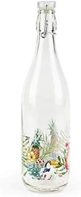 Excelsa Bottle, Transparent with Tropical Decor, 1
