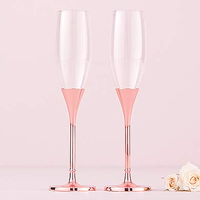 Wedding Star 6011 Toasting Flutes - Rose Gold Diamond Glitter