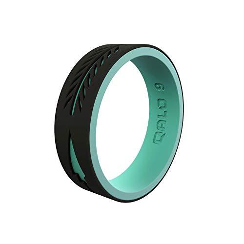 QALO Women's Strata Black and Aqua Arrow Silicone Ring Size 08