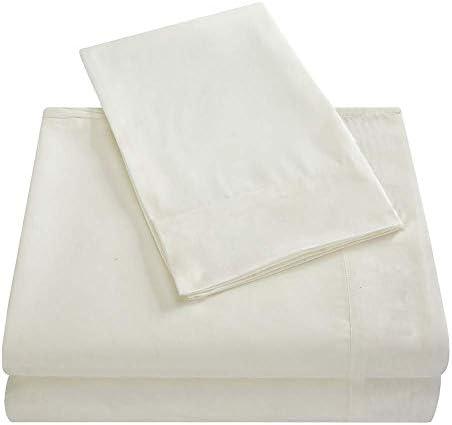 AMYZ Ensemble de draps de lit,Drap Plat en Microfibre brossée résistant aux Plis,Drap-Housse avec taies d'oreiller(B,Twin(3 pièces))