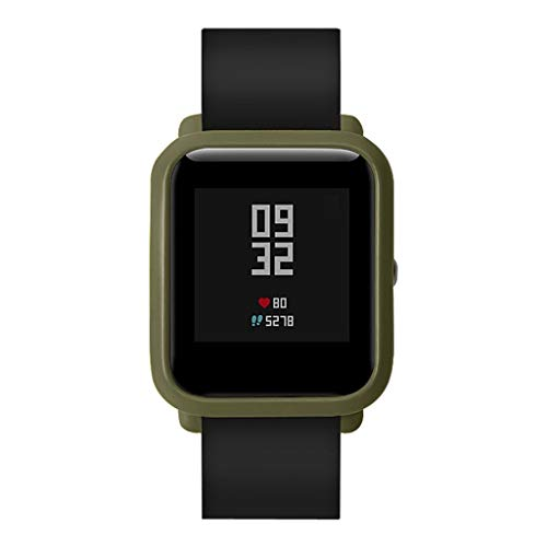 OUBAO PC Case Thin Cover Cover Protect Colorful Shell for Xia omi Huami Amaz fit Bip Youth Watch with Screen Protector (Army Green) by OUBAO (Image #3)