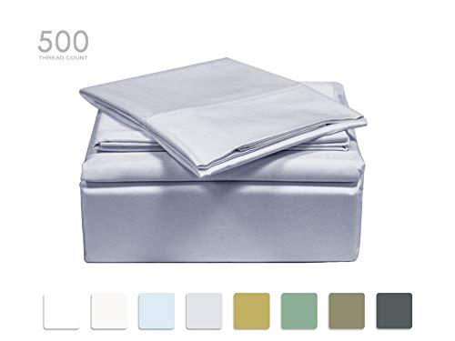 - TRANQUIL NIGHTS 500 Thread Count Cotton Sheet Set- Light Grey Queen, 4-Piece Set, Long Staple Combed Cotton, Sateen Weave,Classic Z Hem,Ultra Soft&Shine, Fits Mattress Upto 17