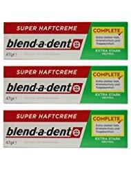 German blend-a-dent Super Denture Adhesive Cream Extra Stark NEUTRAL Green 47g (3 PACK) (Best Denture Adhesive 2019)